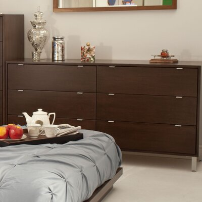 High Line 6 Drawer Dresser Color: Clear, Wood Veneer: Walnut