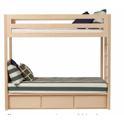 Thompson Twin over Twin Bunk Bed with Storage Size: Twin, Wood Veneer: Walnut, Color: Clear