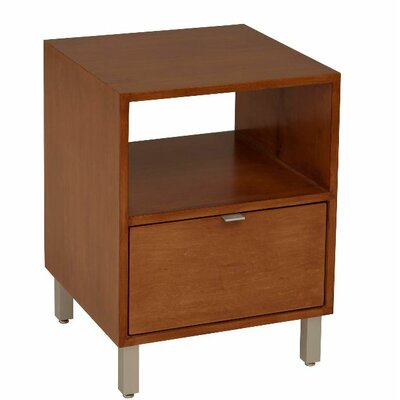 Southville 1 Drawer Nightstand Wood Veneer: Cherry, Color: Clear