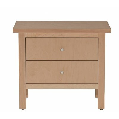 Hudson 2 Drawer Nightstand Wood Veneer: Cherry, Color: Clear
