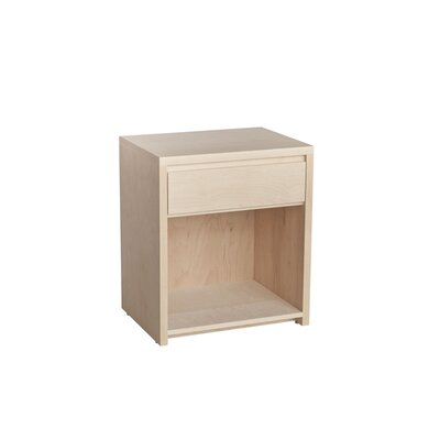 Thompson 1 Drawer Nightstand Wood Veneer: Walnut, Color: Clear