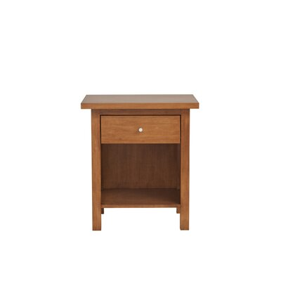 Hudson 1 Drawer Nightstand Wood Veneer: Walnut, Color: Toffee