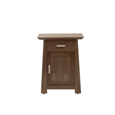 Hamilton 1 Drawer Nightstand Wood Veneer: Cherry, Color: Clear