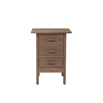 Smith 3 Drawer Nightstand Wood Veneer: Walnut, Color: Unfinished