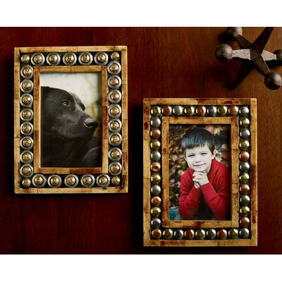 2 Piece Horn and Button Picture Frame Set