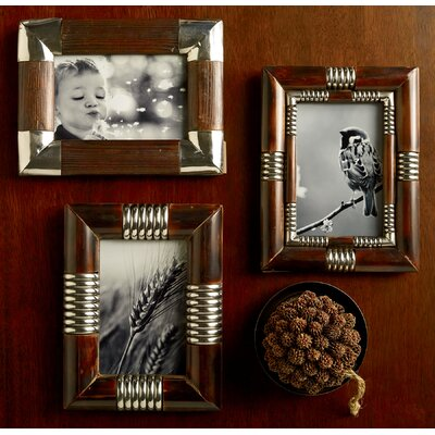 3 Piece Metal and Wood Picture Frame Set