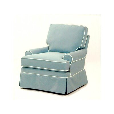 Belmont Swivel Armchair Upholstery: Green and Blue Stripe; 0216-53