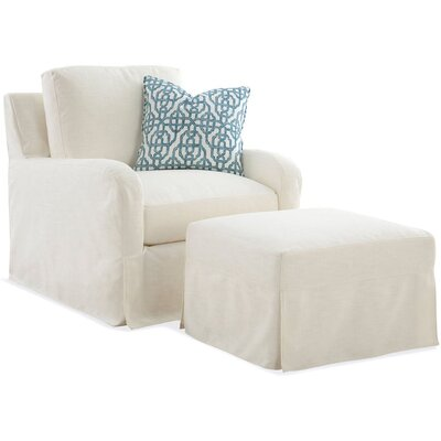 Libby Langdon Halsey Slip Covered Armchair Upholstery: White Textured Plain; 0863-91