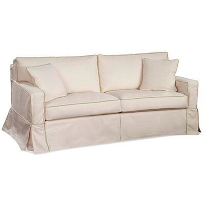 Muslin Box Cushion Sofa Slipcover Upholstery: White Textured Plain; 0863-93