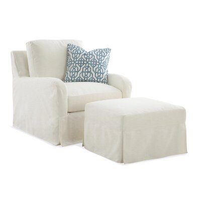 Halsey Box Cushion Ottoman Slipcover Upholstery: Green and Blue Textured Plain; 0863-53