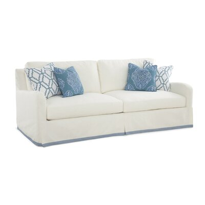 Halsey Box Cushion Sofa Slipcover Upholstery: White Stripe; 0239-94