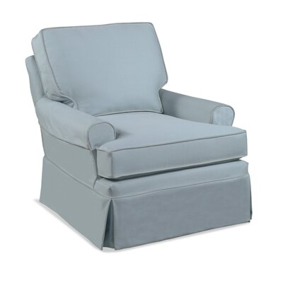 Belmont Armchair with Muslin/Slipcover Combo Upholstery: Green and Blue Textured Plain; 0805-54