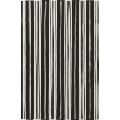 Farmhouse Stripes Hand-Woven Black/Gray Area Rug Rug Size: Rectangle 5 x 8