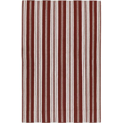 Farmhouse Stripes Hand-Woven Red/White Area Rug Rug Size: Rectangle 8 x 11