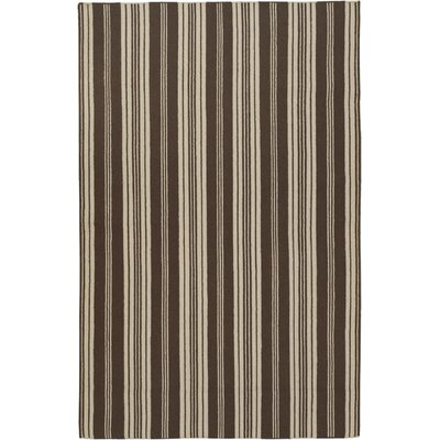 Farmhouse Stripes Hand-Woven Brown/Tan Area Rug Rug Size: 36 x 56