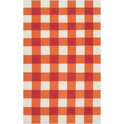 Happy Cottage Orange/White Plaid Area Rug Rug Size: 5 x 8