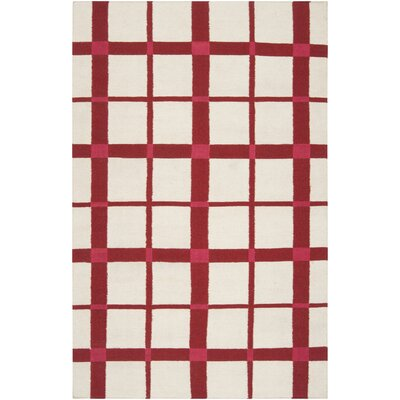 Happy Cottage Red/Ivory Area Rug Rug Size: 5 x 8