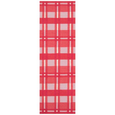 Happy Cottage Hot Red Plaid Area Rug Rug Size: Runner 2'6