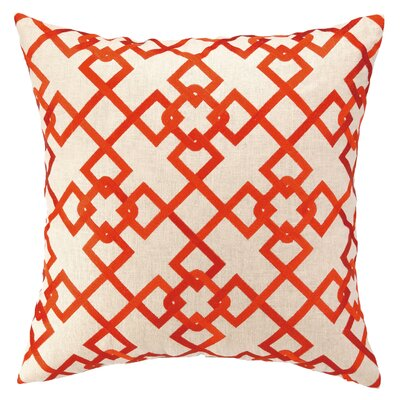 Chain Link Embroidered Decorative Linen Throw Pillow Color: Orange