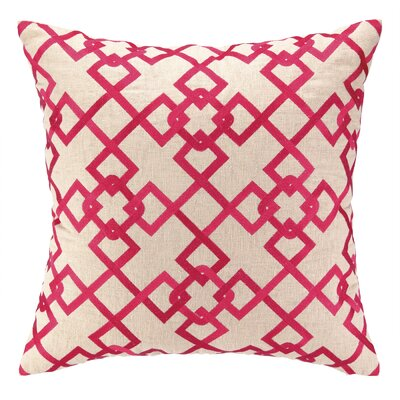 Chain Link Embroidered Decorative Linen Throw Pillow Color: Pink