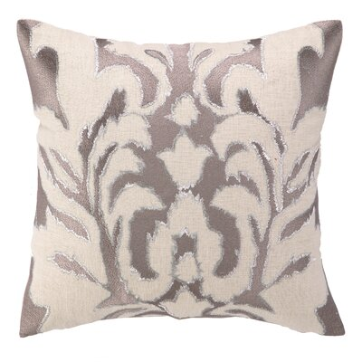 Courtney Cachet Ikat Embroidered Decorative Linen Throw Pillow Color: Taupe