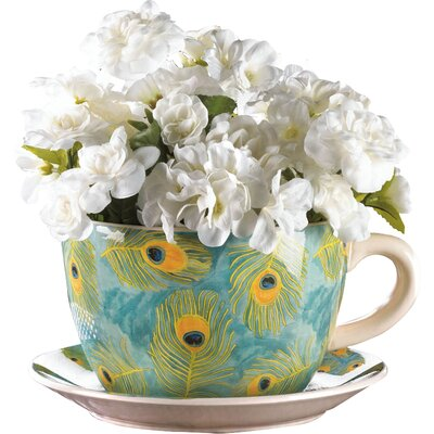 Peacock Novelty Dolomite Pot Planter with Saucer 57071960