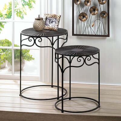 2 Piece Umber Wicker End Table Set