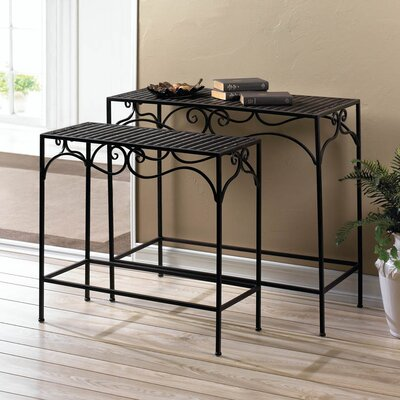 Umber Wicker 2 Piece Nesting Tables