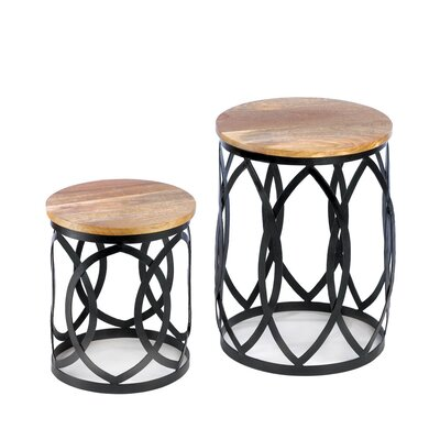2 Piece Contemporary End Table Set