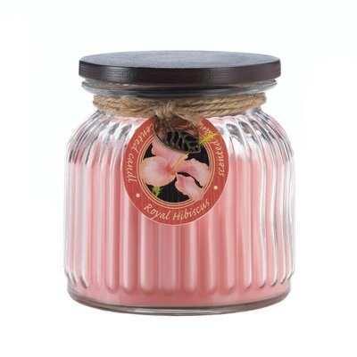 Royal Hibiscus Ribbed Scented Jar Candle 10017246