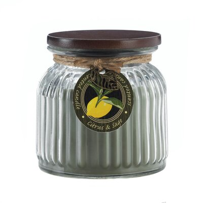 Citrus and Sage Ribbed Scented Jar Candle 10017240