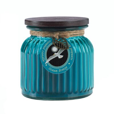 Ocean Breeze Ribbed Scented Jar Candle 10017244
