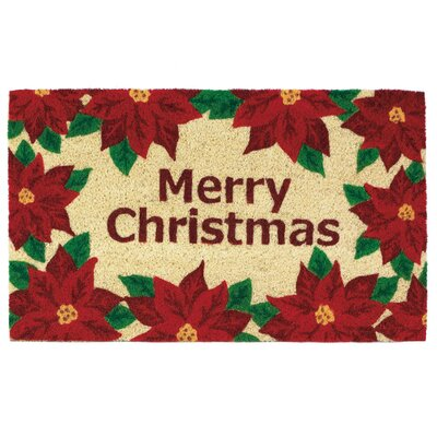 Christmas Poinsettias Welcome Doormat