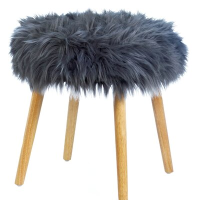 Mouzon Faux Fur Stool Vanity Stool Seat Color: Gray