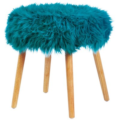 Mouzon Faux Fur Stool Vanity Stool Seat Color: Turquoise