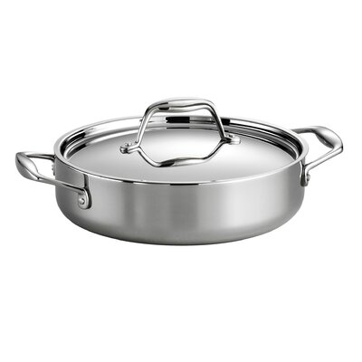 Gourmet Stainless Steel Round Braiser with Lid Size: 4.25