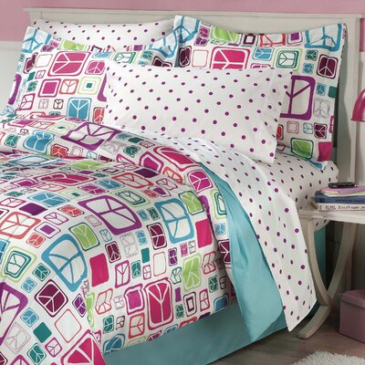 Peace Out Reversible Bed-in-a-Bag Set Size: Twin