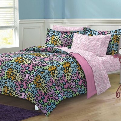 Neon Leopard Bed-In-A-Bag Set Size: Full