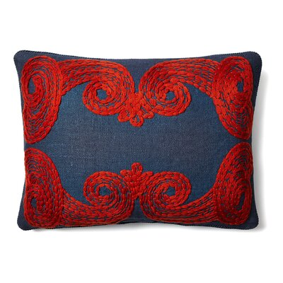 Tomato Crewl Linen Lumbar Pillow