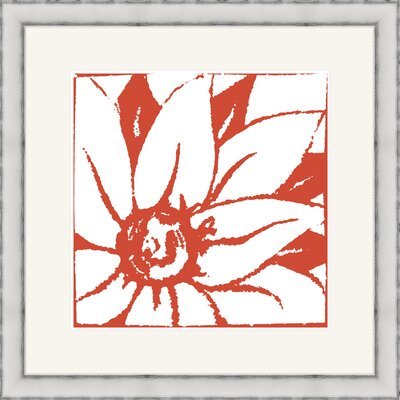Bloomy Burst II Framed Graphic Art Color: Red mv12245