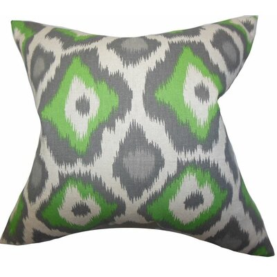 Camillei Ikat Cotton Throw Pillow Color: Green, Size: 18 x 18