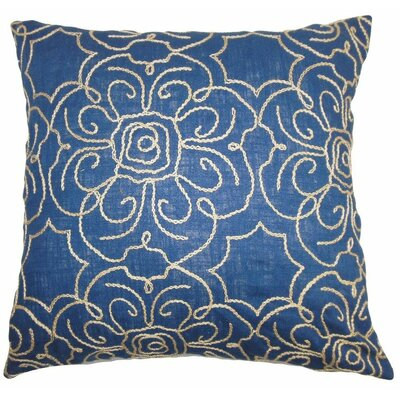 Chalda Floral Throw Pillow Color: Indigo, Size: 24 x 24
