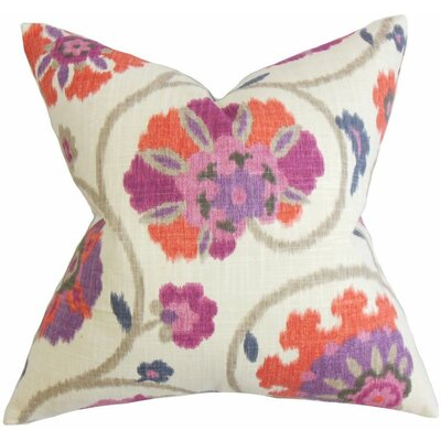 Aspendale Floral Cotton Throw Pillow Color: Mulberry, Size: 18 x 18
