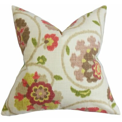 Tarian Floral Cotton Throw Pillow Color: Raspberry Green, Size: 18 x 18
