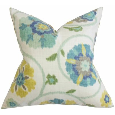 Aspendale Floral Cotton Throw Pillow Color: Seaglass, Size: 18 x 18