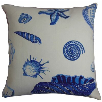 Savona Coastal Cotton Throw Pillow Color: Natural Blue, Size: 22 x 22