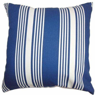 Perri Stripes Cotton Throw Pillow Color: Blue, Size: 18 x 18