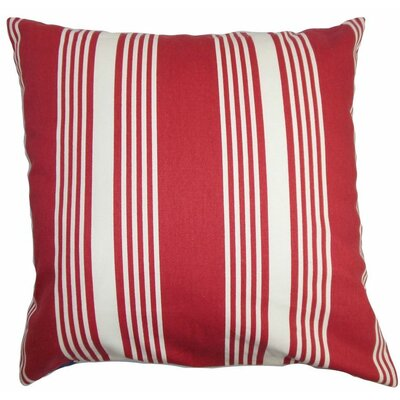 Perri Stripes Cotton Throw Pillow Color: Red, Size: 18 x 18