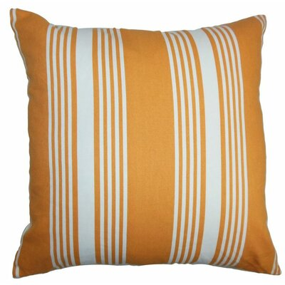 Perri Stripes Cotton Throw Pillow Color: Tangerine, Size: 22 x 22
