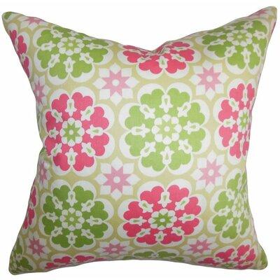 Eavan Floral Cotton Throw Pillow Color: Flamingo, Size: 24 x 24